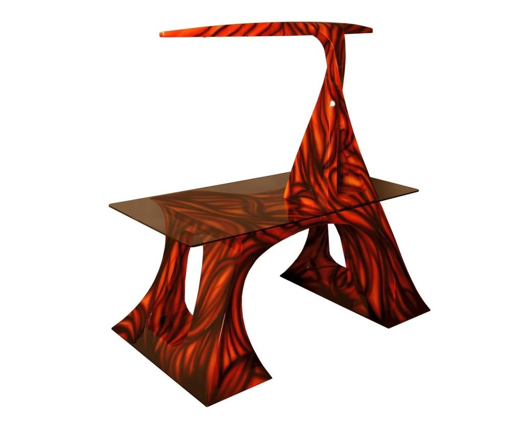 3D-Design-Schreibtisch 5achsig aus MDF ausgefräst
